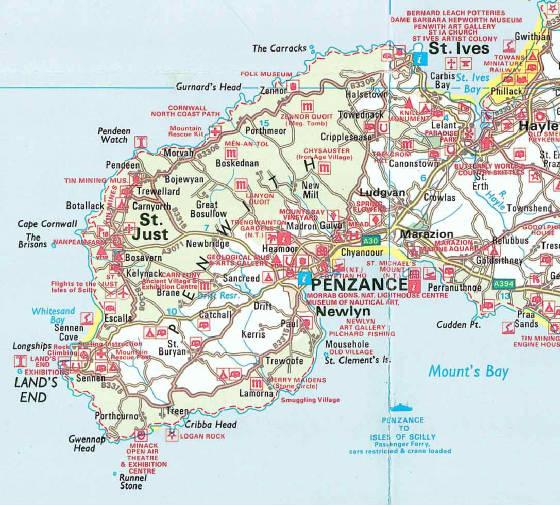 Map Of West Cornwall Bosavern